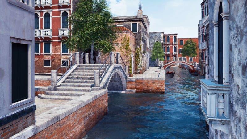 Canal vide de l'eau avec le vieux pont en pierre à Venise illustration libre de droits