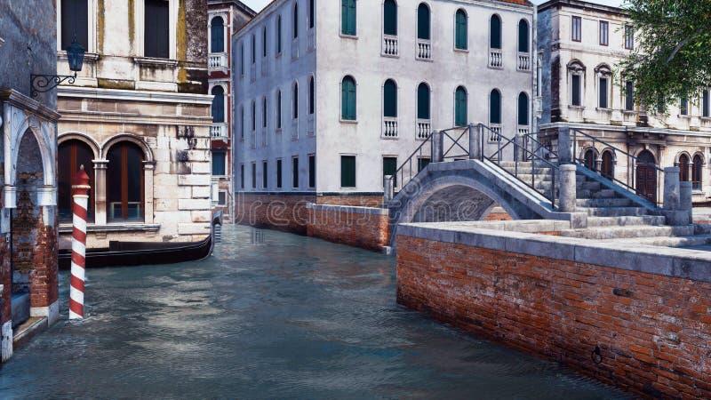 Canal vide de l'eau illustration à Venise, Italie 3D illustration libre de droits