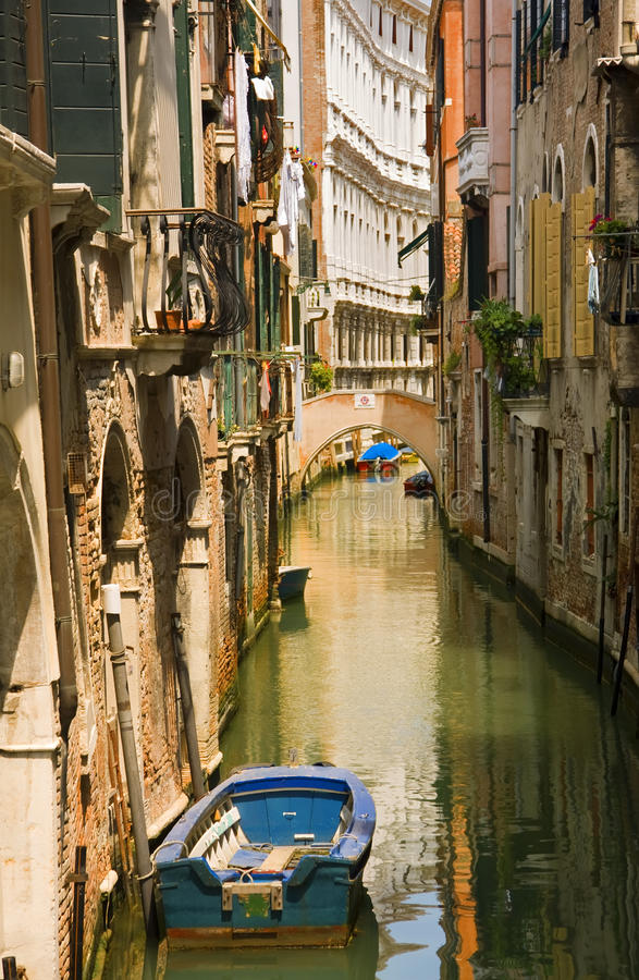 Canal view with boat in Venice royalty free stock photos