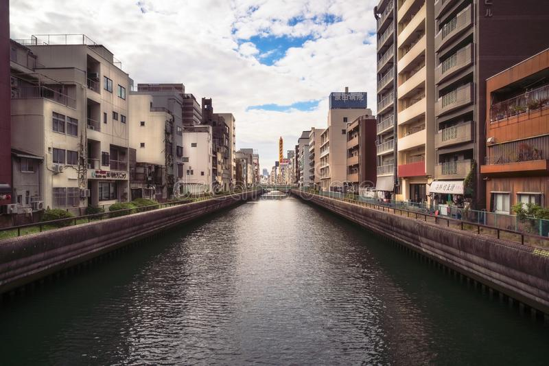 Canal view from Shimoyamoto Bridge in downtown Osaka. royalty free stock photo
