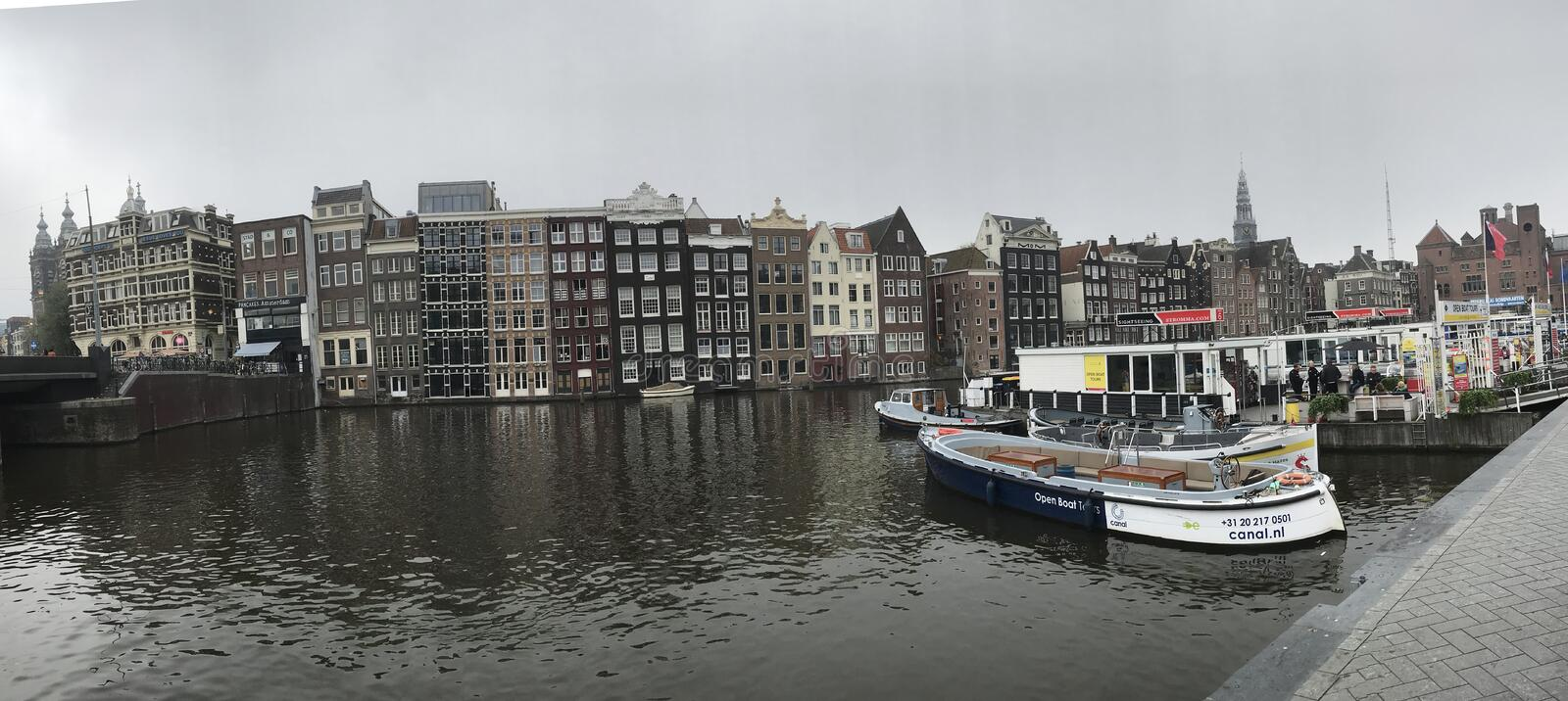 Canal Water Way in Amsterdam, Holland royalty free stock photos