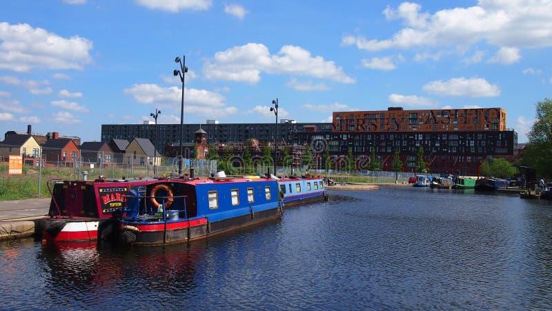 Canalboats Manchester UK royaltyfria bilder