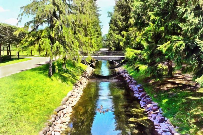 Canale del pesce in Catherine Park in Tsarskoye Selo illustrazione vettoriale
