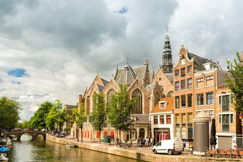 Canale del quartiere a luci rosse di Amsterdam immagini stock libere da diritti
