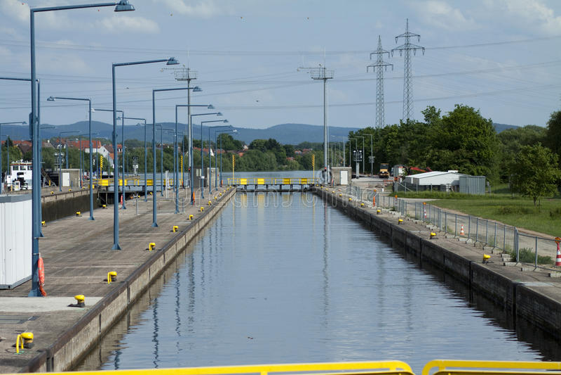 Canale della chiusa con la strada privata immagine stock