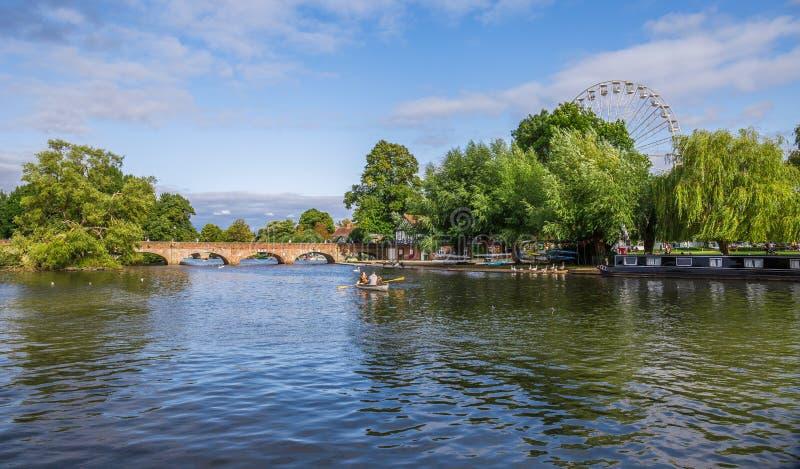 Canale di Avon, Stratford sopra Avon, città del ` s di William Shakespeare, Westmidlands, Inghilterra fotografia stock libera da diritti