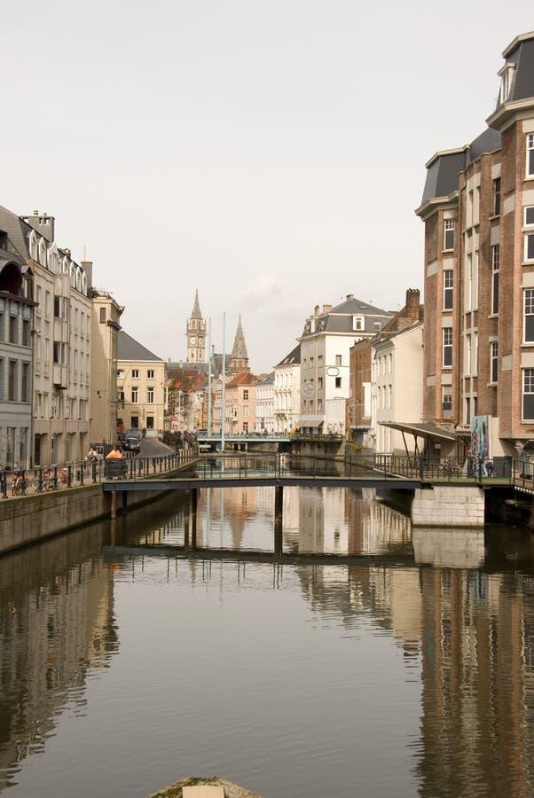 Canale in Gent, Belgio fotografie stock