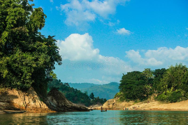 Canale naturale khal di Lala in Sylhet, Bangladesh immagine stock libera da diritti