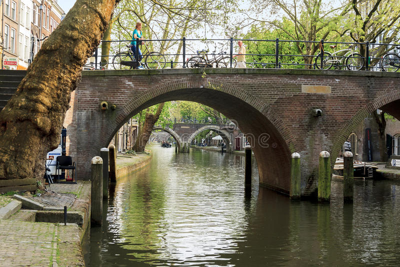 Canale Oudegracht a Utrecht fotografia stock