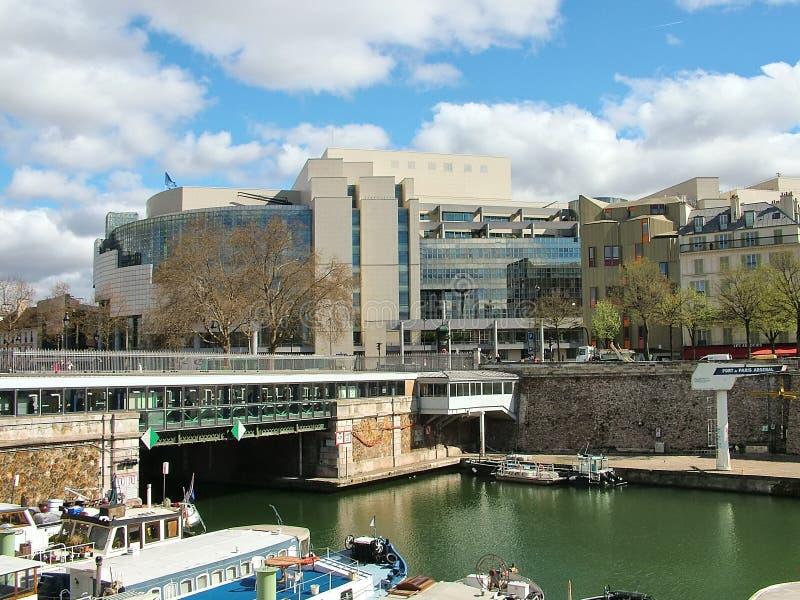 Canale St Martin vicino a Place de la Bastille a Parigi fotografia stock libera da diritti