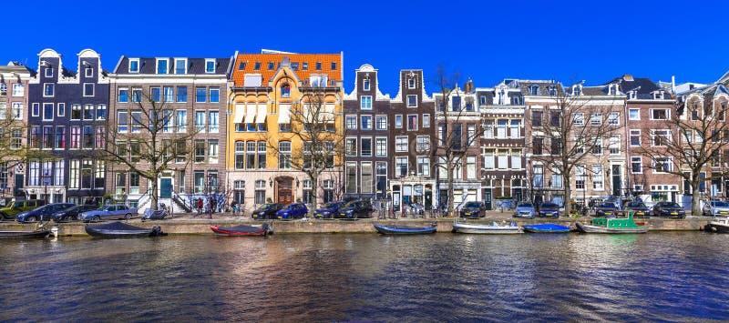 Canales de Amsterdam Imagen panorámica foto de archivo libre de regalías