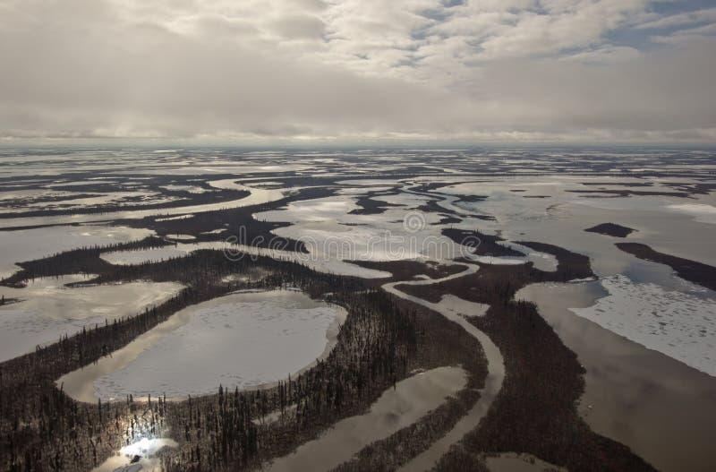 Canales de Mackenzie River Delta, NWT, Canadá fotos de archivo libres de regalías