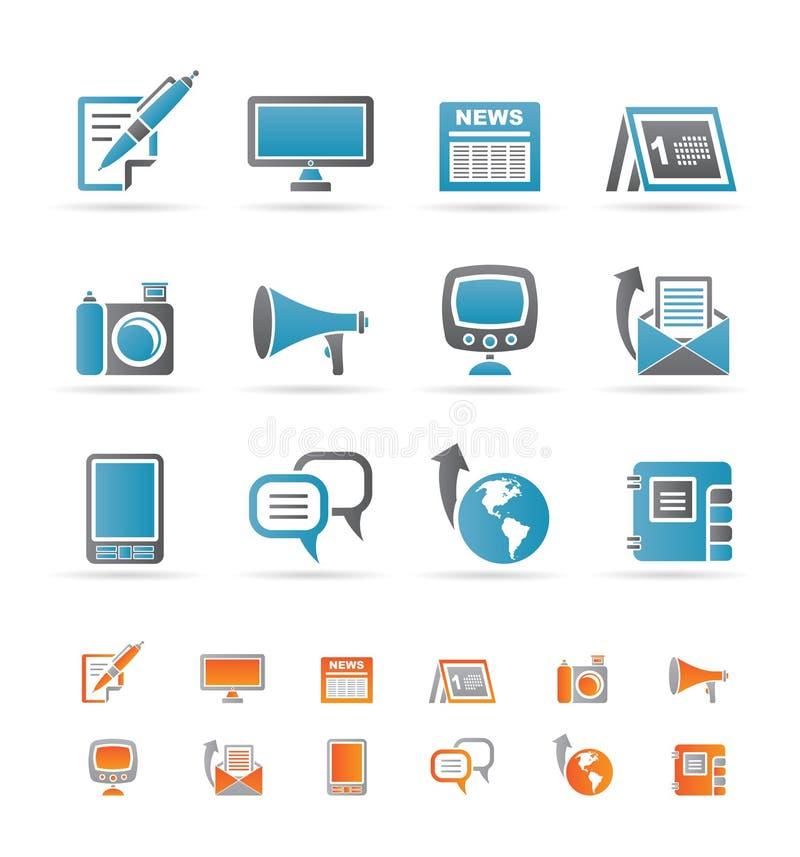 Canaletas de comunicação e ícones sociais dos media