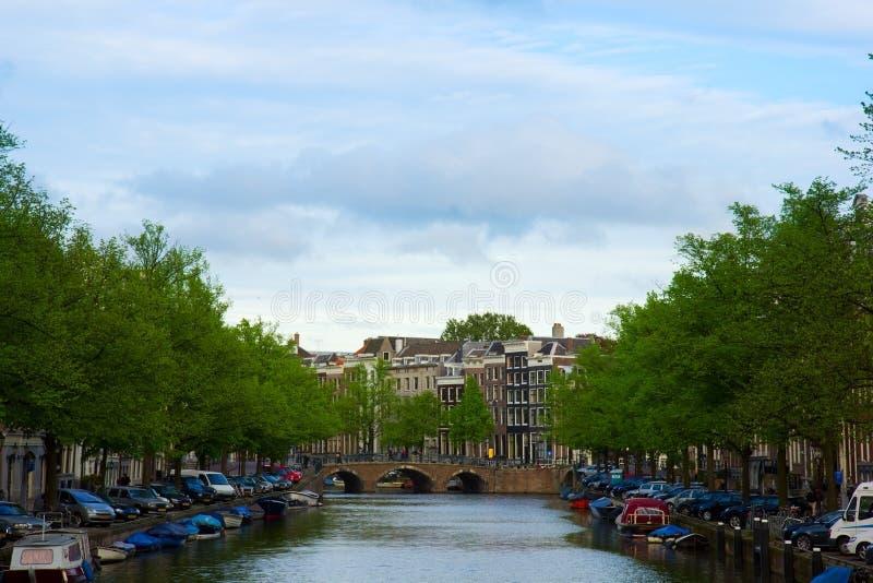 Canali di Amsterdam, Paesi Bassi immagini stock libere da diritti