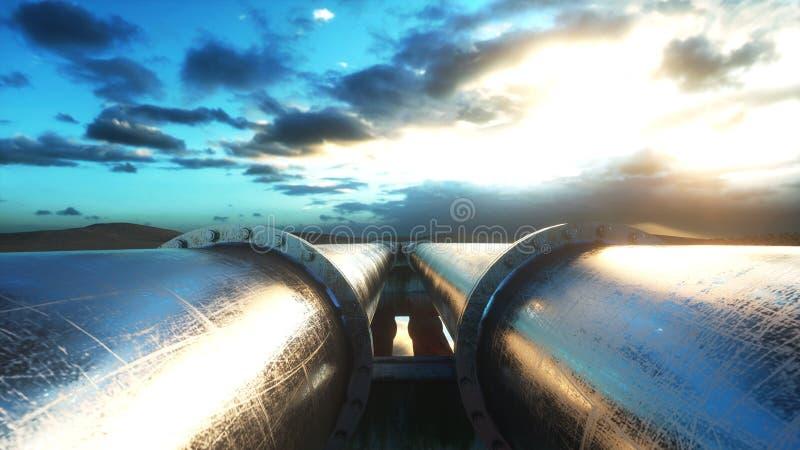 Canalice el aceite del transporte, el gas natural o el agua en tubo del metal Concepto del aceite representación 3d ilustración del vector