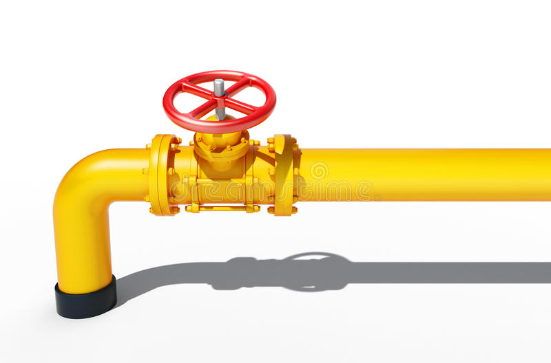 Canalisation en métal jaune avec la valve rouge illustration de vecteur
