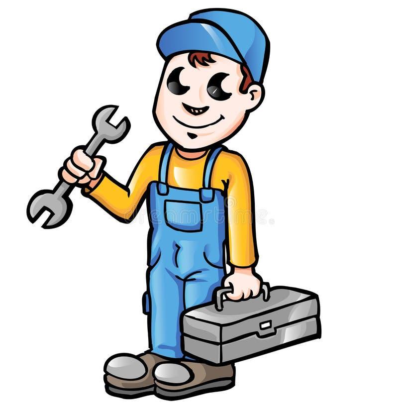 Canalizador ou mecânico feliz dos desenhos animados ilustração royalty free