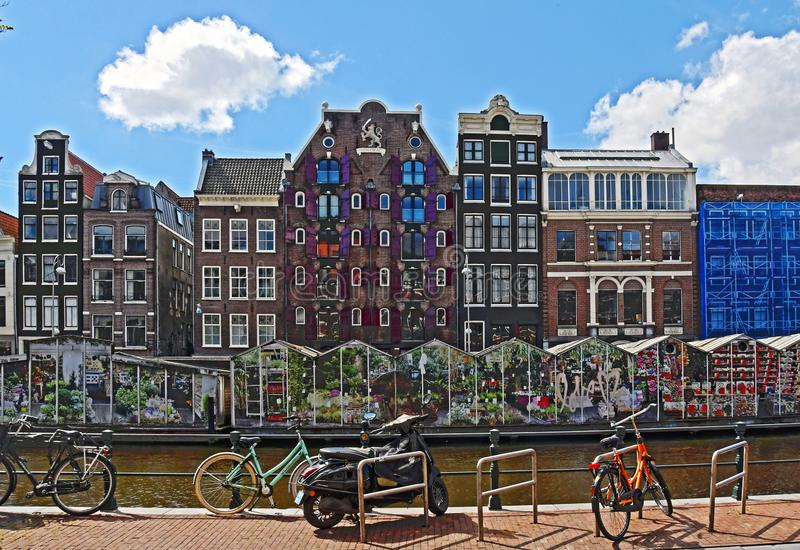 Canals in Amsterdam, Flower Market stock photo