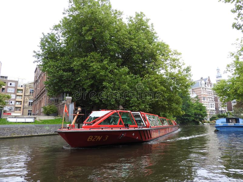 The canals of Amsterdam, the Netherlands, clear summer day royalty free stock image
