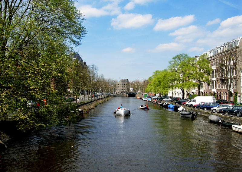 Canals of Amsterdam in Netherlands royalty free stock images