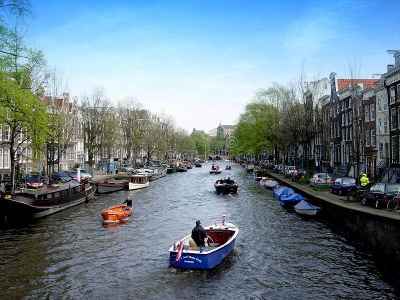 Canals of Amsterdam in Netherlands stock photography