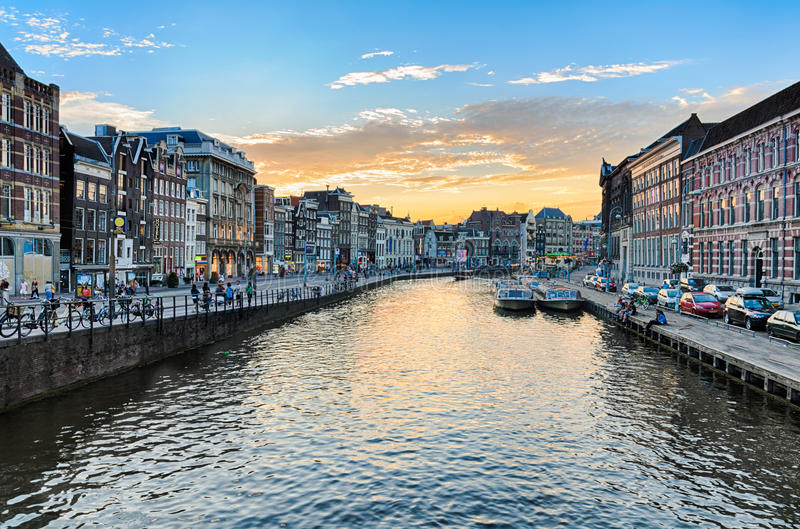 Canals of Amsterdam at sunset stock photos