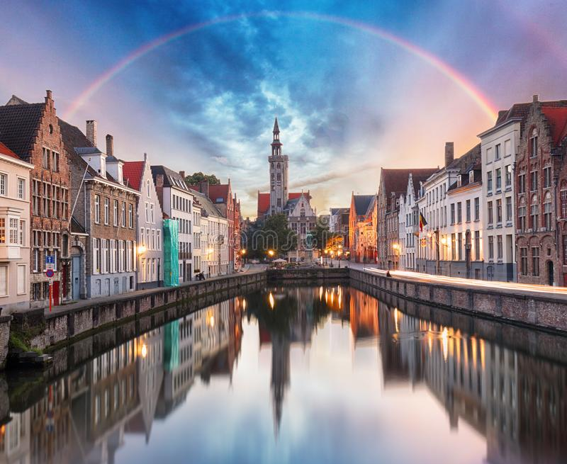 Canals of Bruges with rainbow, Belgium royalty free stock images