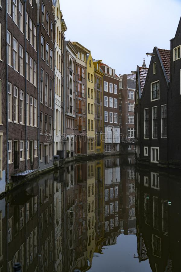 Canals and house of Amsterdam Holland. Amsterdam Holland The city of Amsterdam, capital of the Netherlands, is built on a network of artificial canals in Dutch royalty free stock image