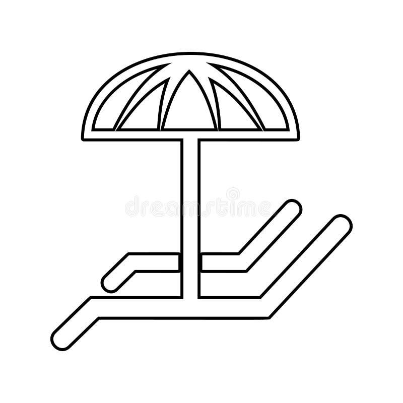 Canapés avec l'icône de parapluie Élément de STATION THERMALE pour le concept et l'icône mobiles d'applis de Web Ligne mince icôn illustration libre de droits