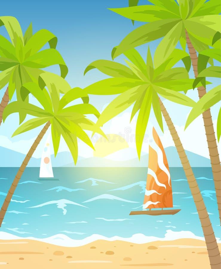 Canap?s de plage et de soleil de mer Paysage marin, banni?re de vacances avec des bateaux de navigation, paumes et nuages Illustr illustration de vecteur