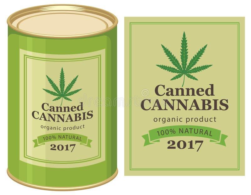 Canapa del barattolo di latta e foglia inscatolate della cannabis royalty illustrazione gratis