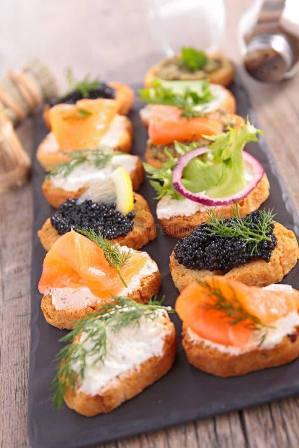 Canape, alimento do bufete fotos de stock royalty free