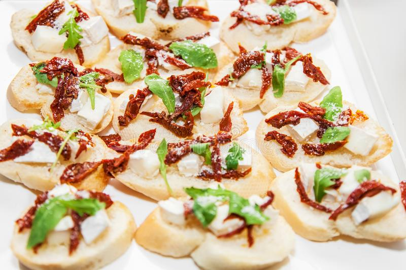 Canape with cheese and meat royalty free stock image