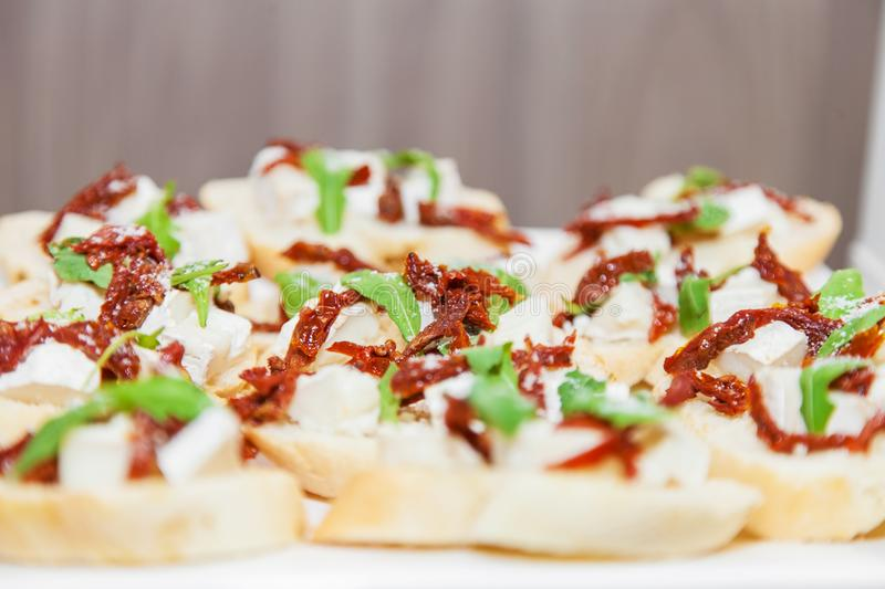 Canape with cheese and meat stock photography