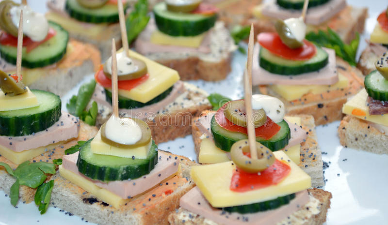 Canape with cheese olives and salami stock image image for Canape with cheese