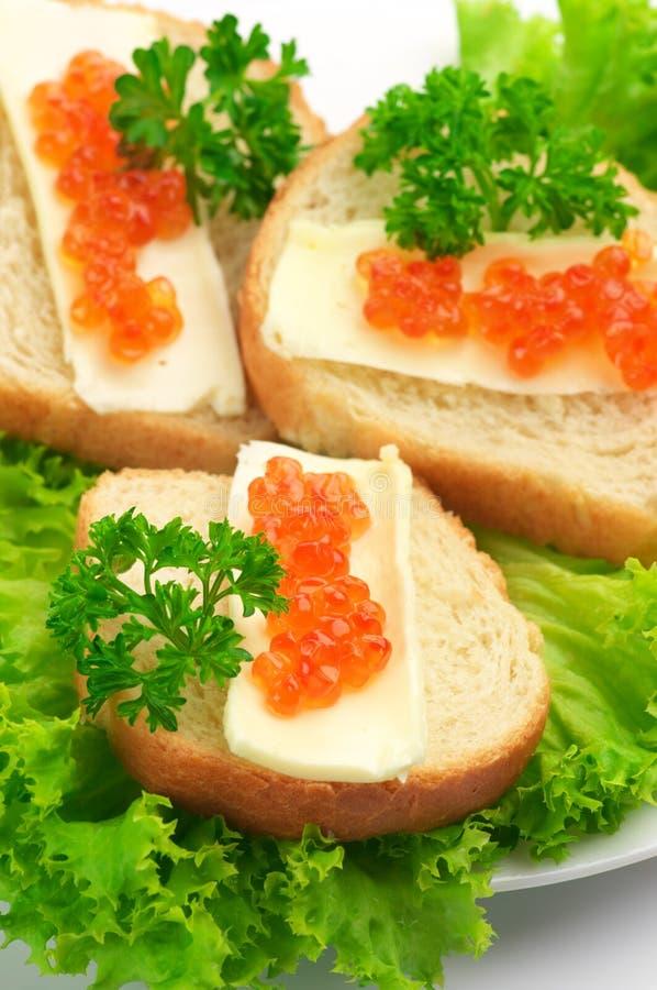 Canape com caviar salmon fotos de stock