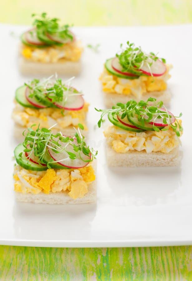 Canape com ovo, pepino, radishes e agrião foto de stock