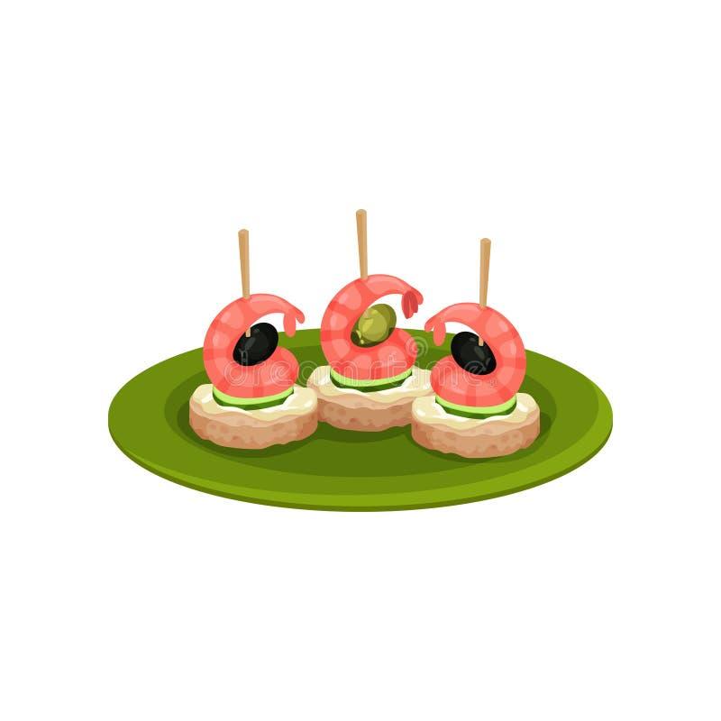 Canape con los camarones, las aceitunas negras, las rebanadas de pepino y el pan Bocados apetitosos para el banquete Diseño plano libre illustration