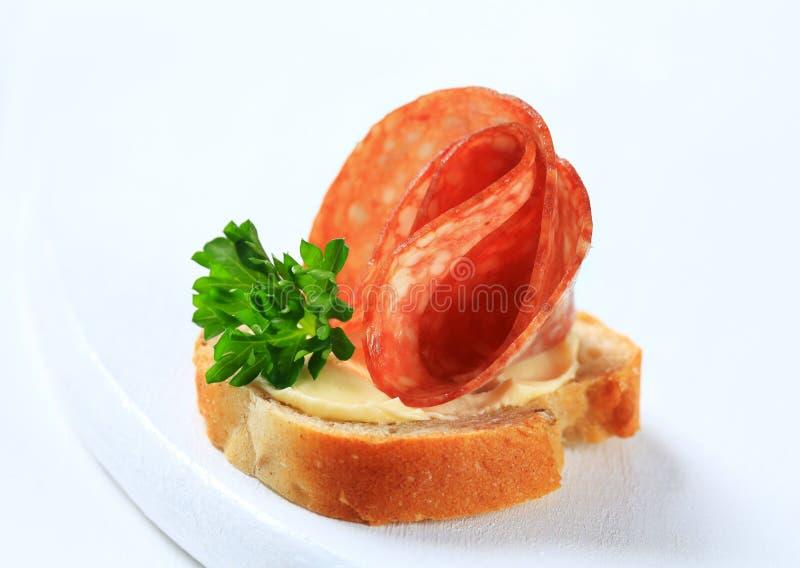 Canape del salame immagine stock