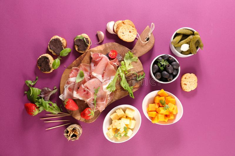 Canape, ham and snack. Assorted various of canape, ham and snack stock photos