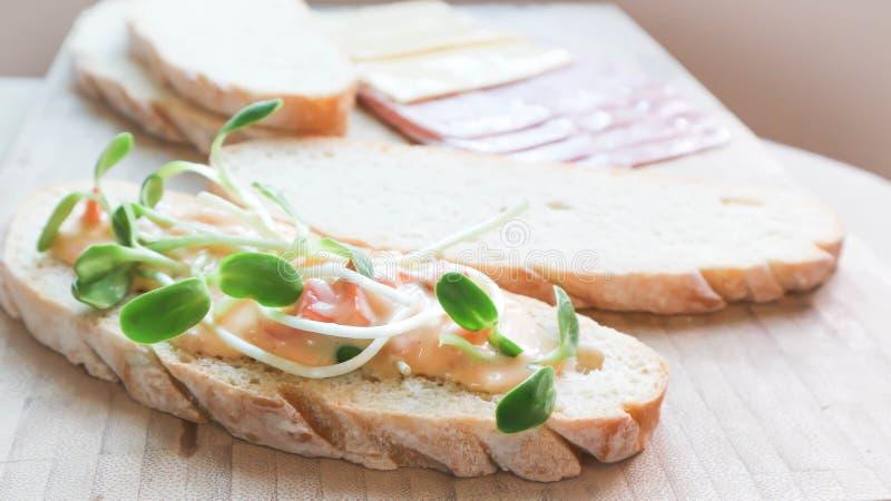 Canape lub chleb z jarzynową polewą zdjęcie stock