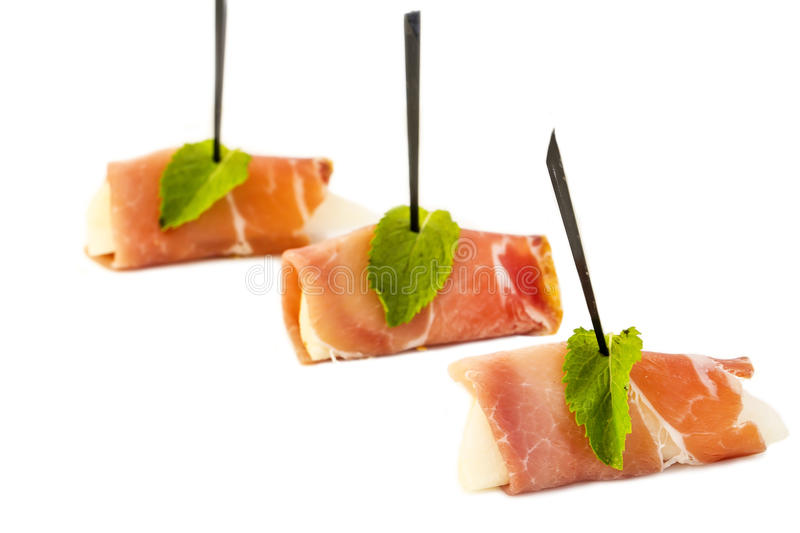 Canape. With meat vegetables and seafood stock image