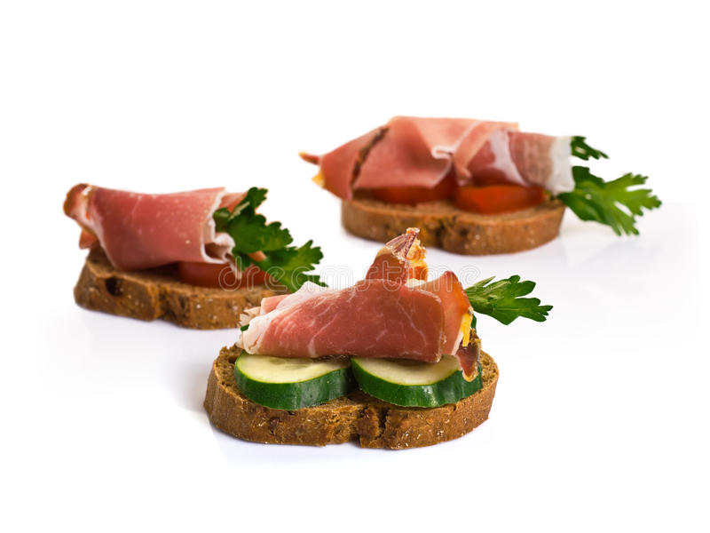 Canape med Jamon arkivfoto