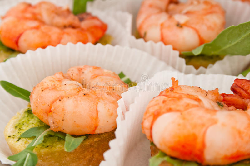 Canape with prawn stock image