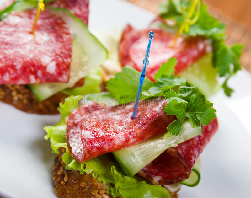 Download Canape with salami and stock image. Image of cuisine - 13523939