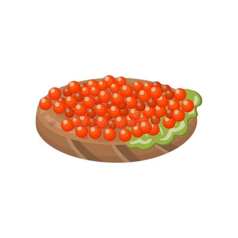 Canape with salmon red caviar cartoon vector Illustration vector illustration