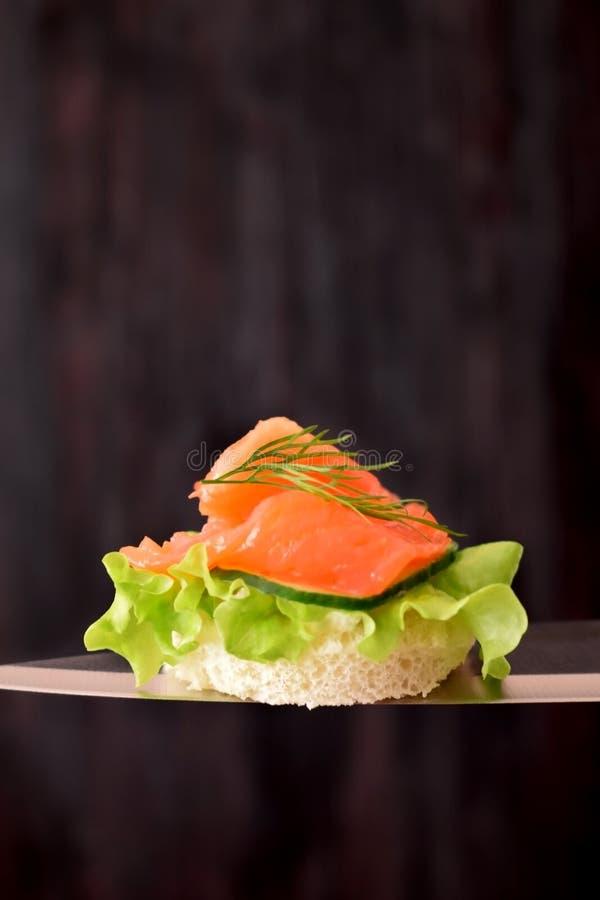 Canape z uwędzonym łososiem i sałatka leaf na nożu obraz royalty free