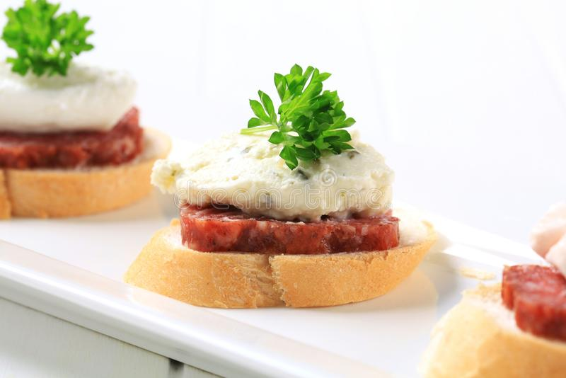 Download Canapes stock image. Image of white, mousse, bread, cream - 25709585