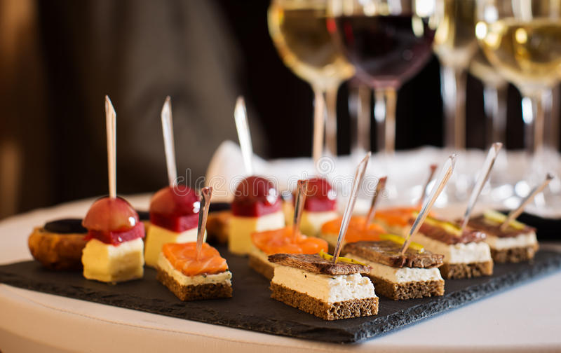 Canapes at buffet table stock image