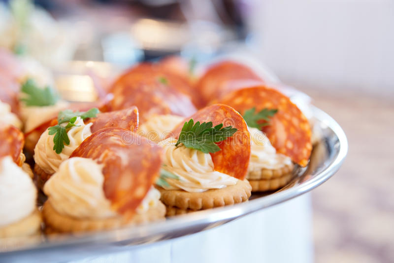 Download Canapes with choriso wurst stock image. Image of presentation - 15963351